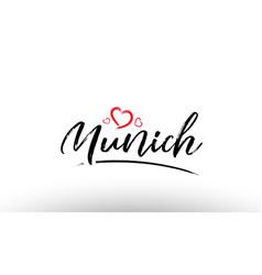 Munich europe european city name love heart vector