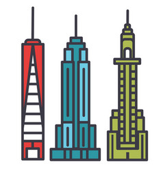 new york skyline flat line concept vector image
