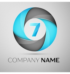 Number seven logo symbol in the colorful circle vector