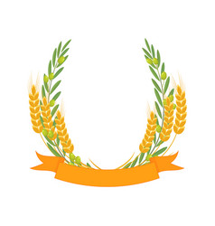 Olive branches and wheat ears vector