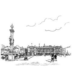 paris cityscape drawing famous place de la vector image