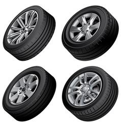 Passenger cars wheels bundle vector