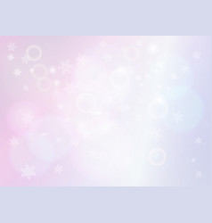 Pastel pink bokeh background with snowflakes vector