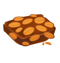 Peanut chocolate bar isolated treat sweet snack vector