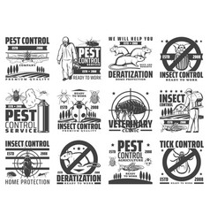 Pest control rodent and insect extermination icon vector