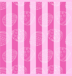Pink seamless pattern with easter eggs and stripes vector
