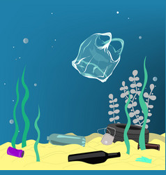 plastic pollution trash under sea vector image