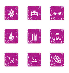 Police icons set grunge style vector
