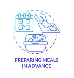 Preparing meals in advance blue gradient concept vector