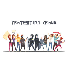 Protesting crowd design concept vector
