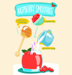 Raspberry smoothie with almond milk vector