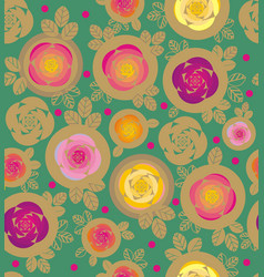 Rose and leaves inside circles vector