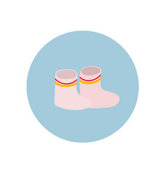 Rubber pink boots circle icon sticker vector