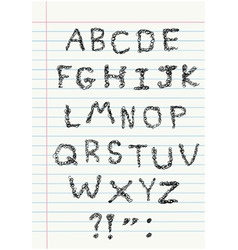 Scribble alphabet on notebook vector