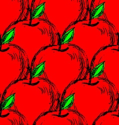 Seamless background with red hand drawn apples vector
