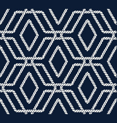 Seamless nautical rope pattern with hexagon shapes vector