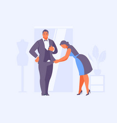 seamstress hemming a suit for man vector image