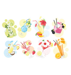 set alcoholic cocktails collection vector image