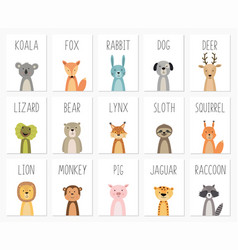 Set cute animals postertemplatecardsbear vector