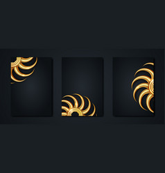 set gold logo design in a4 black templates vector image