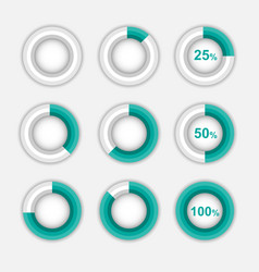 set green pie chart circle infographic vector image