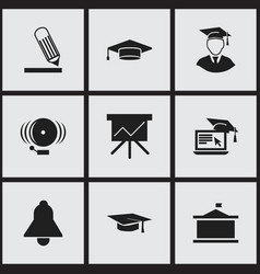 set of 9 editable university icons includes vector image