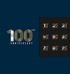 set of anniversary logotype golden and silver vector image