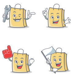 Set of bag character with mechanic foam finger vector