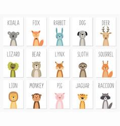 set of cute animals postertemplatecardsbear vector image