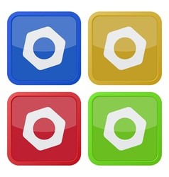 Set of four square icons with nut vector