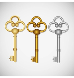 set of old keys isolated on white background vector image