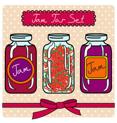 Set of retro jam jars vector