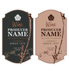 set of wine labels with grape vine and leaf vector image