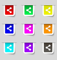 Share icon sign Set of multicolored modern labels vector