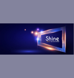 shining banner with gold dust futuristic light vector image