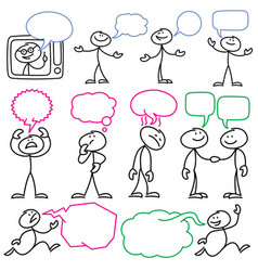 Sketch stick figures with blank dialog vector