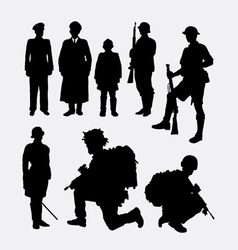 Soldier army and police silhouette 4 vector image