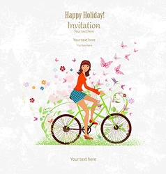 sport Invitation card with a happy girl riding on vector image