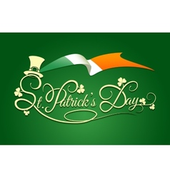St Patricks Day Background with flag of Ireland vector image