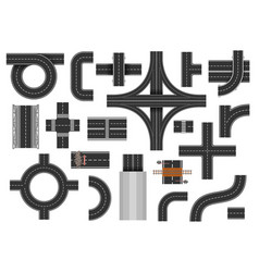 street road elements vector image