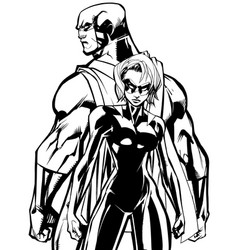 superhero couple back to back line art vector image
