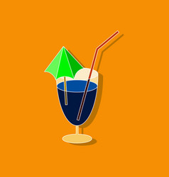 Sweet dessert in paper sticker cocktail vector