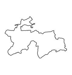 Tajikistan map of black contour curves on white vector