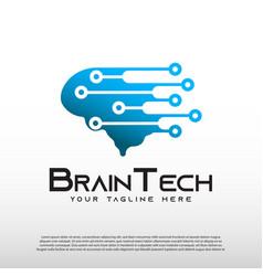 Technology logo with human brain concept vector
