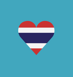thailand flag icon in a heart shape in flat design vector image