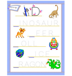Tracing letter d for study english alphabet vector