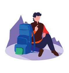 Traveler man with backpack vacations vector