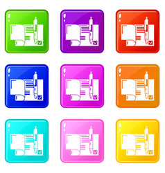 Treaty icons set 9 color collection vector