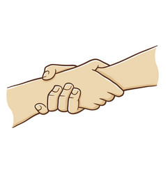 Two hand holding each other with strong grip vector