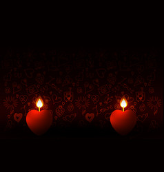 valentines day two burning candles in the shape vector image